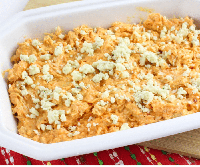 Easy buffalo chicken dip recipe ready to go into the oven to bake