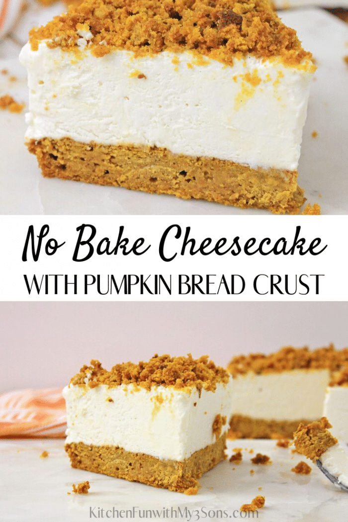 Pumpkin Bread Cheesecake - No Bake fluffy Cheesecake with Pumpkin Bread crust