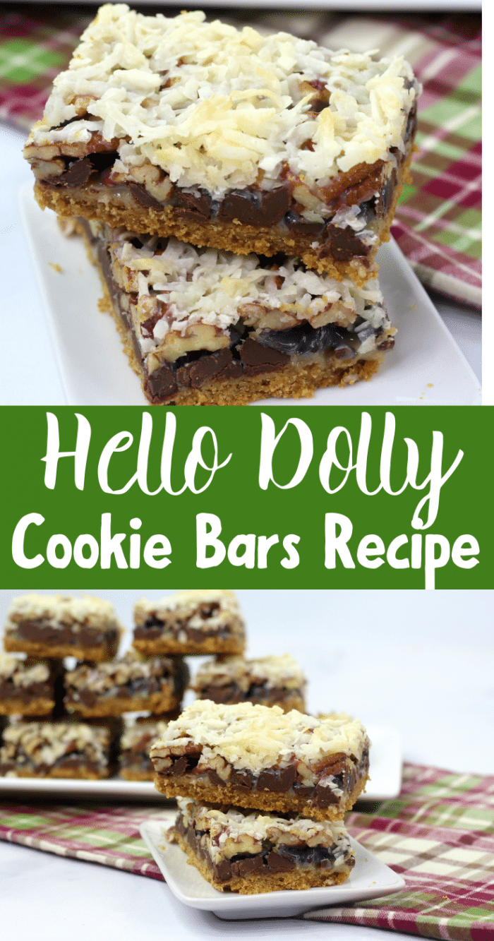 A collage image of hello dolly bars on white plates