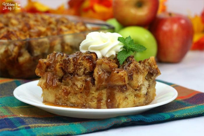 Delicious Fall recipe for Caramel Apple Bread Pudding with delicious apples, apple pie spice and brown sugar.