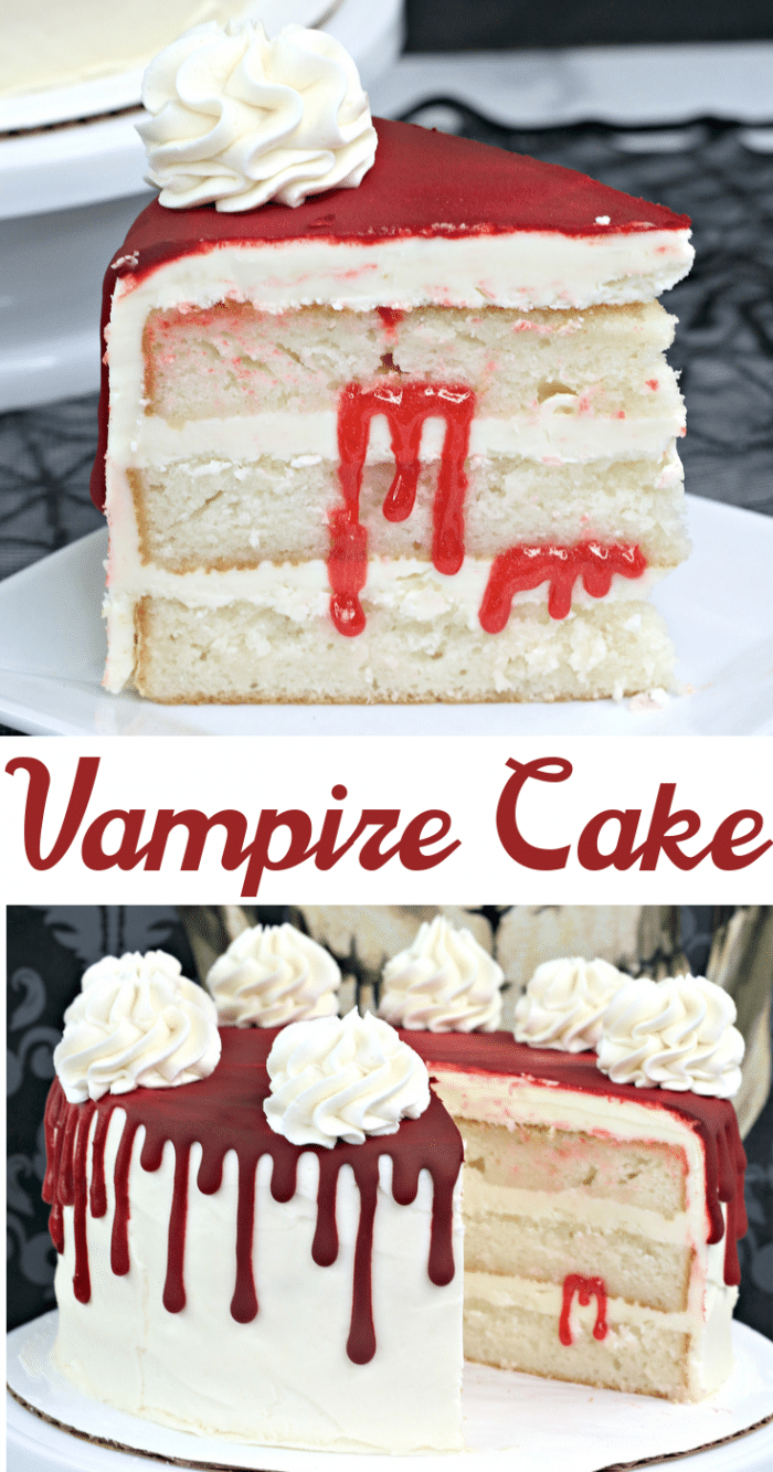 Collage image of slices of vampire blood cake on a white cake stand (1)