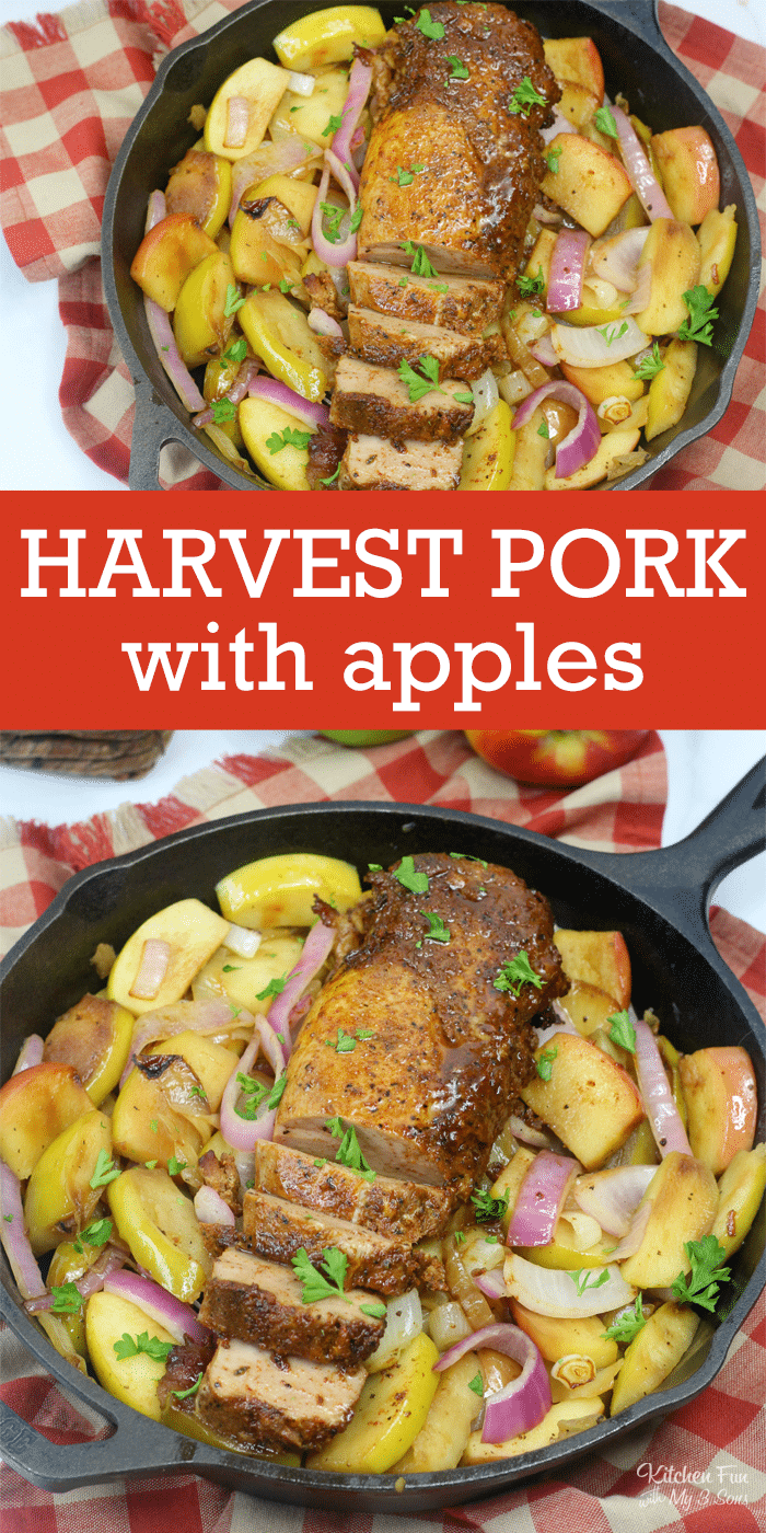Harvest Pork loin with apples and onions is a great dinner recipe for the family.