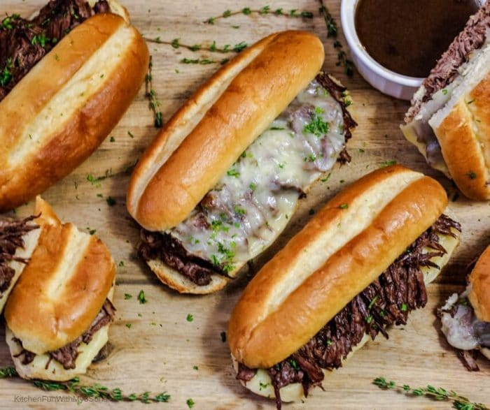 Overhead picture of a french dip sandwiches ready to be served