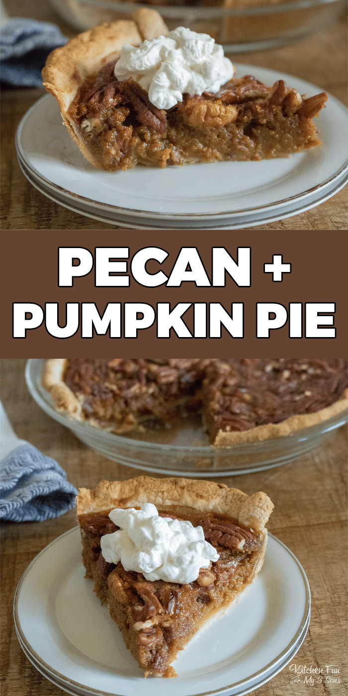 Pumpkin Pecan Pie is the fall dessert mashup of my dreams! This Thanksgiving dessert combines two of the most popular pies and is such a hit. | Thanksgiving Dessert | Pie Recipes
