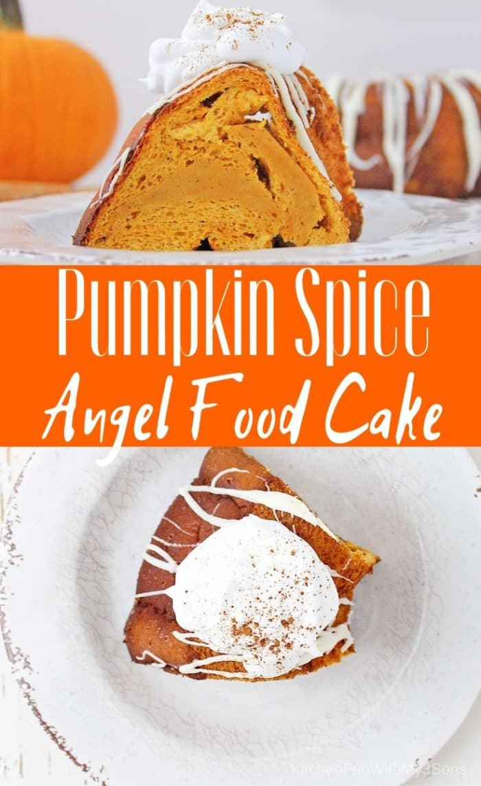 Pumpkin Spice Angel Food Cake on white plates and topped with whipped cream
