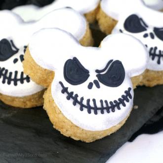 Up close picture of jack skellington halloween rice krispie treats