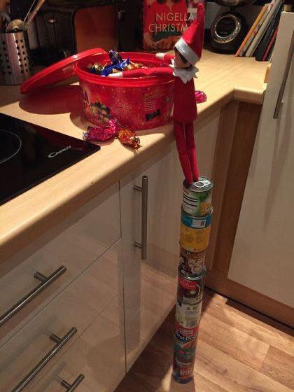 Tower of Canned Food for Elf on the Shelf