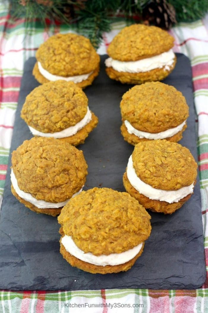 Overhead picture of homemade pumpkin oatmeal cream pies