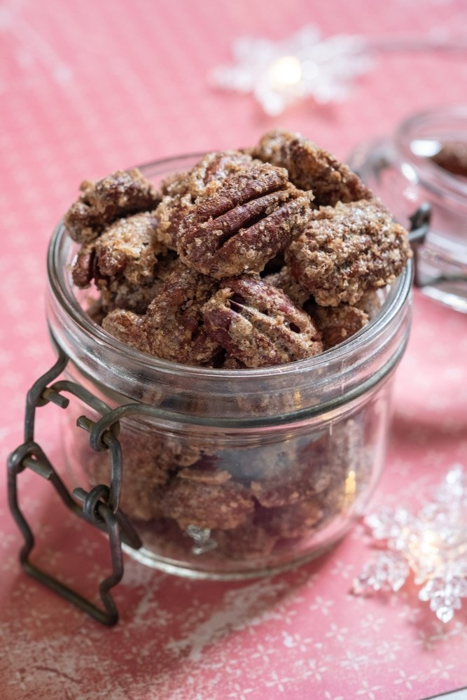 Candied Pecans in a Holiday Gift Jar