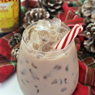 Chocolate white russian with peppermint stick