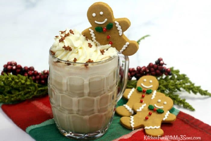 Close up of glass of gingerbread latte