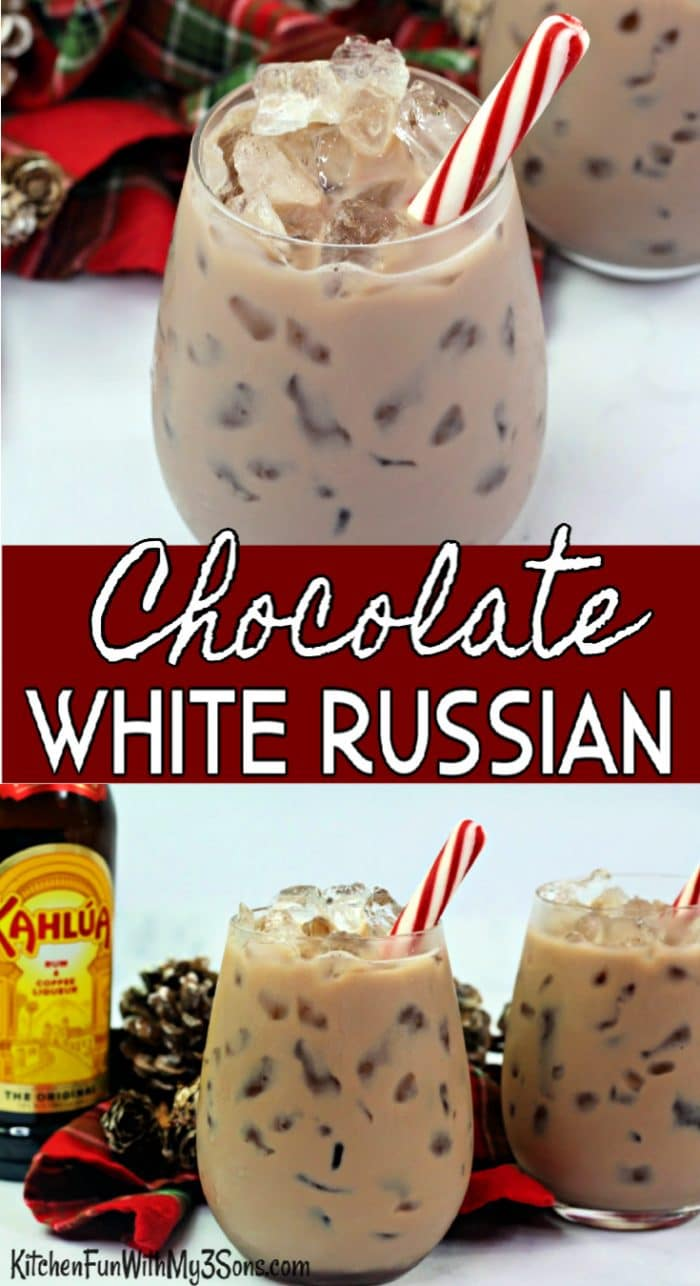 Collage of Chocolate White Russian in glass