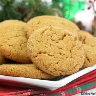 Ginger snap cookies on a white plate