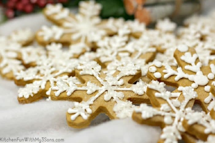 Gingerbread Snowflake cookies stacked together