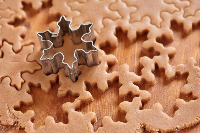 Cut Out Gingerbread snowflake cookies