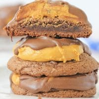 Stack of brownie buckeye cookies
