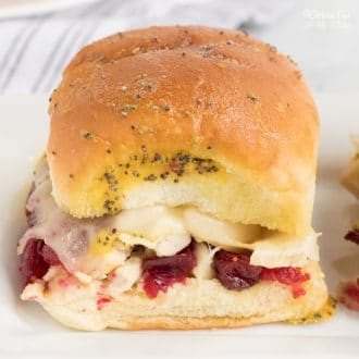 Turkey Cranberry Sliders are the perfect meal to make with your leftover turkey. The combination of cranberry sauce and turkey is so good.