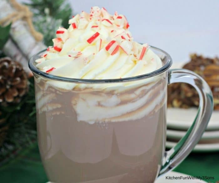 Up close glass of hot cocoa with peppermint vodka