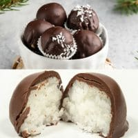 Coconut Balls dipped in Chocolate inside and outside