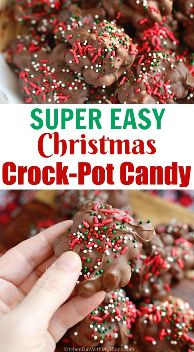 Crockpot Candy is one of the easiest holiday treats to make at Christmas. It is a combination of an assortment of chocolates with peanuts and almonds, topped with colorful sprinkles.