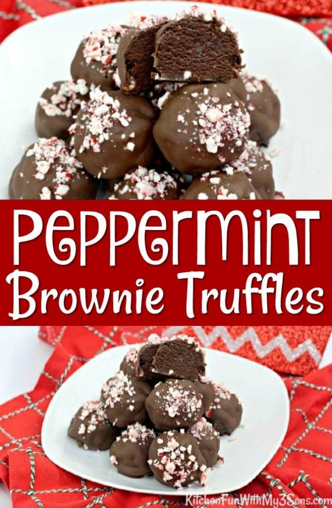 Peppermint Brownie Truffles