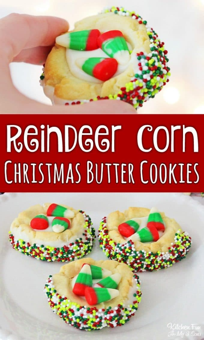 Reindeer Corn Christmas Butter Cookies