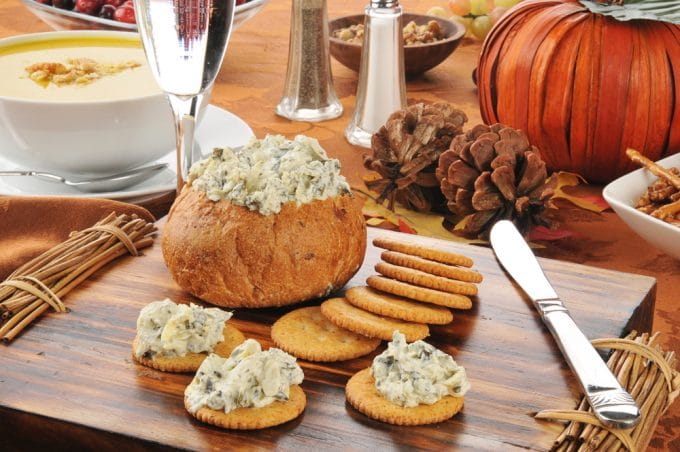 Bread Bowl  with Dip and Crackers
