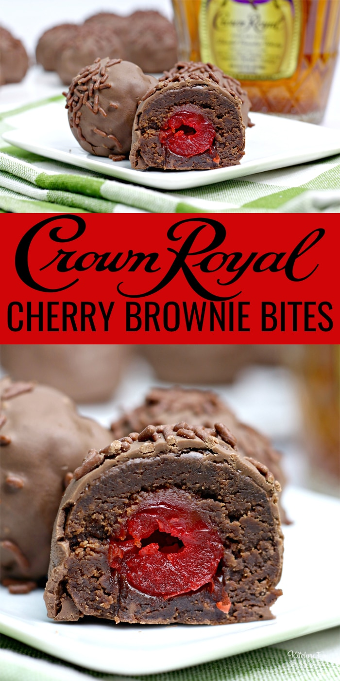 Chocolate Brownie Cherry Bombs have a hidden surprise inside: a Crown Royal Whisky soaked cherry. It's a yummy adult treat is perfect for Valentine's Day.