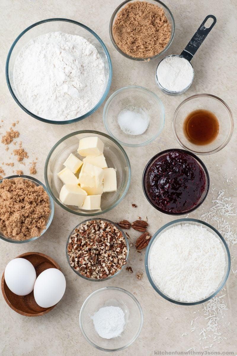 Coconut Pecan Shortbread Bars ingredients