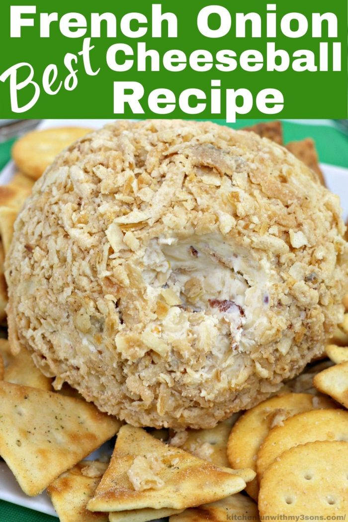 French Onion Best Cheese Ball Recipe for pinterest