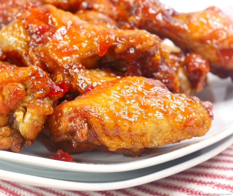 Jalapeno BBQ Instant Pot Chicken Wings on a white plate