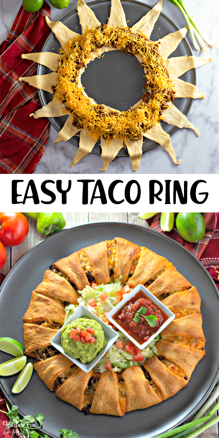 Super easy three ingredient Taco Ring with a handful of toppings to customize your own.
