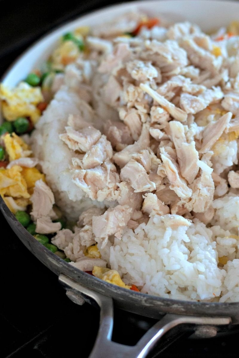 chicken fried rice in a pot
