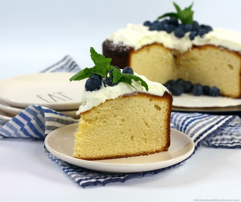 easy custard cake on a white plate