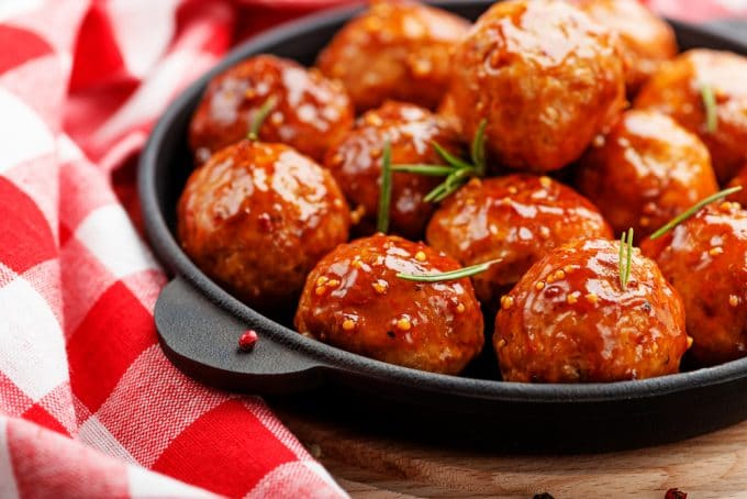 Baked Chicken Meatballs with a Sweet and Spicy Glaze