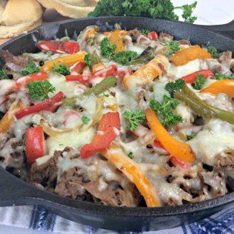 skillet philly cheesesteak casserole