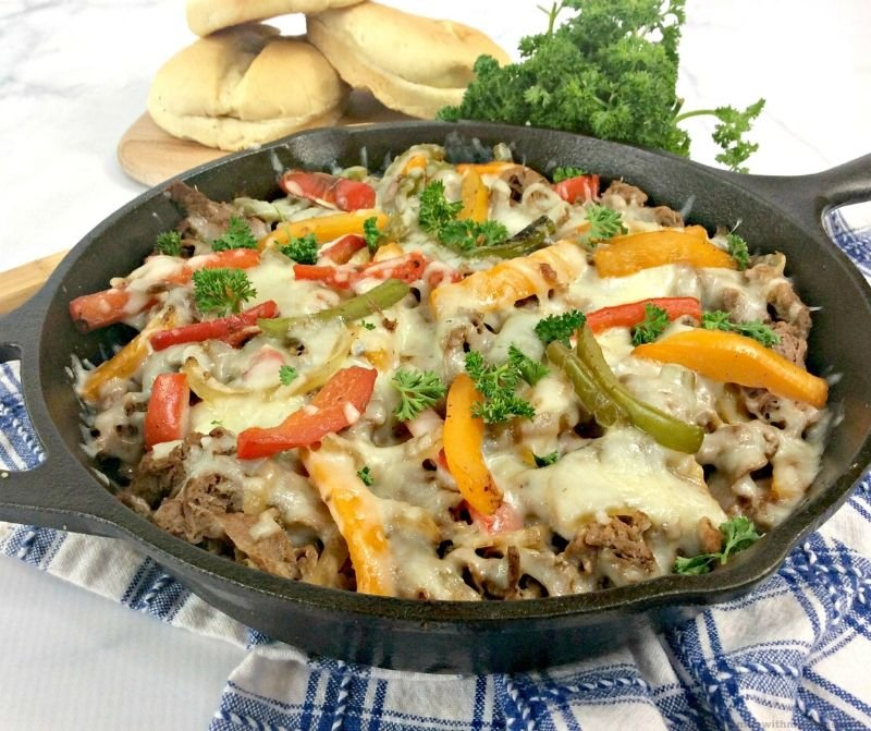philly cheesesteak casserole in a skillet