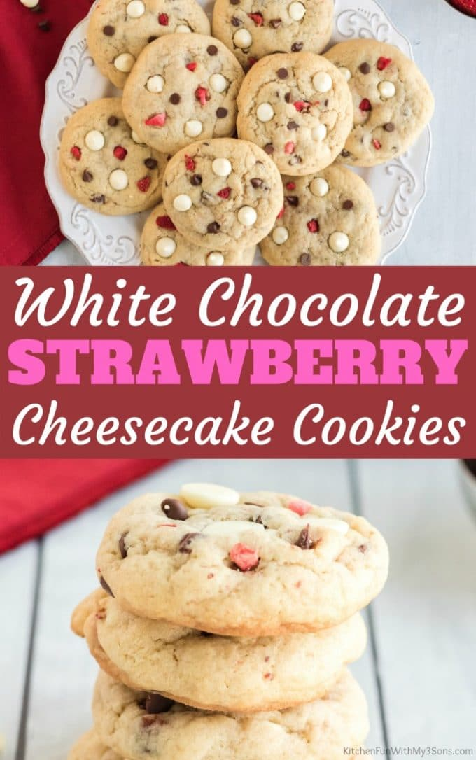 White Chocolate Strawberry Cheesecake Cookies