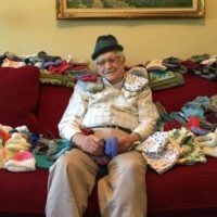 Ed Moseley, of Acworth, Georgia, taught himself to knit so he could donate baby caps to Northside Hospital in Atlanta
