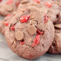 Black Forest Chocolate Cherry Cookies on a gray plate