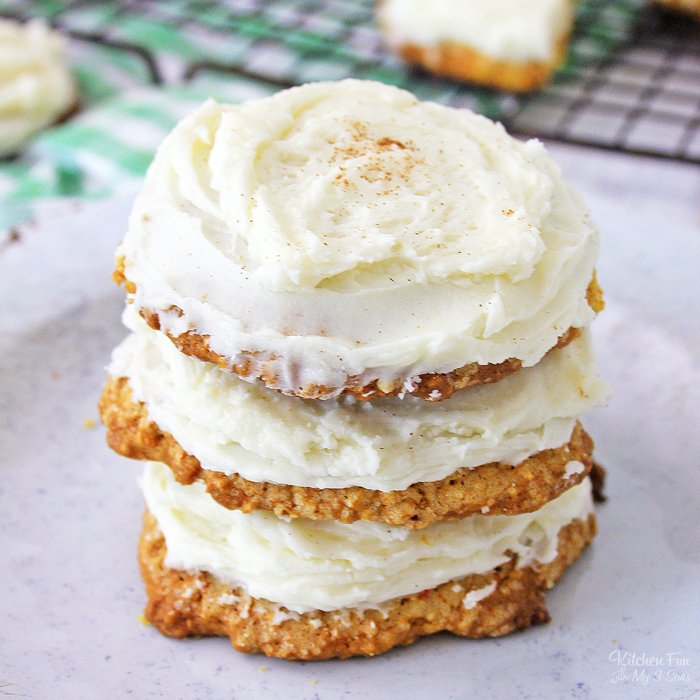 Carrot Cake Cookies are so delicious, and so easy to make. They have all the great flavors of a carrot cake, and they have a tangy cream cheese frosting, which just makes them doubly good.