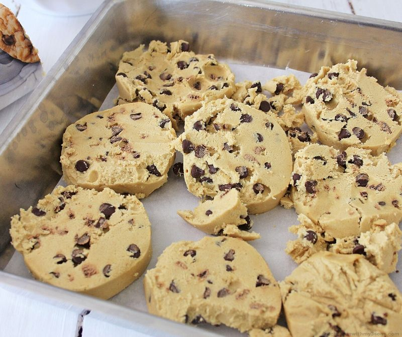 chocolate chip cookie dough in a pan