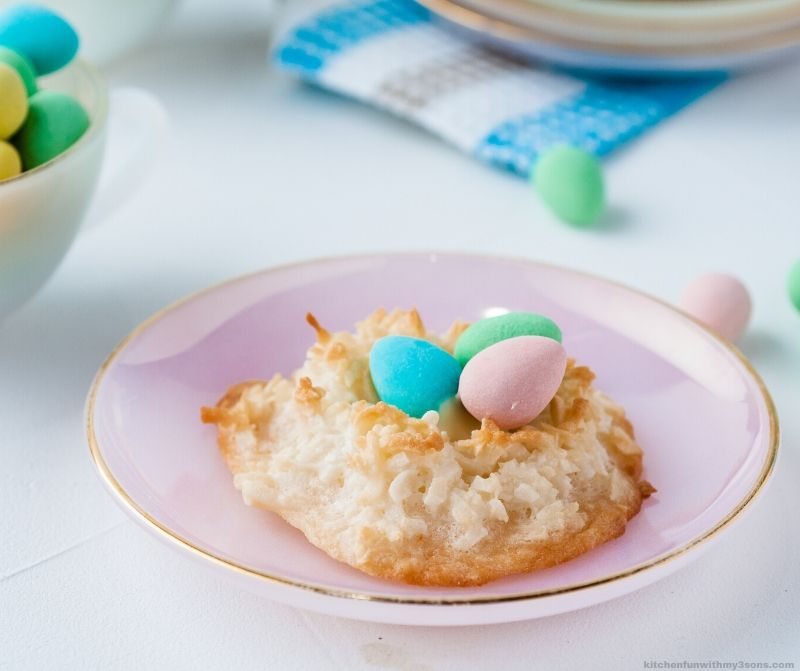 Coconut Macaroons Recipe Easter Birds Nests on a plate