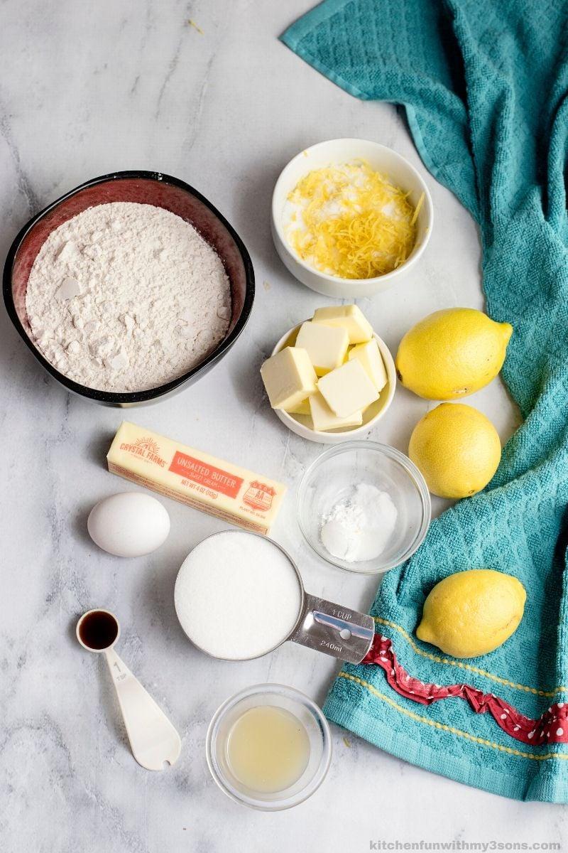 ingredients for lemon sygar cookies