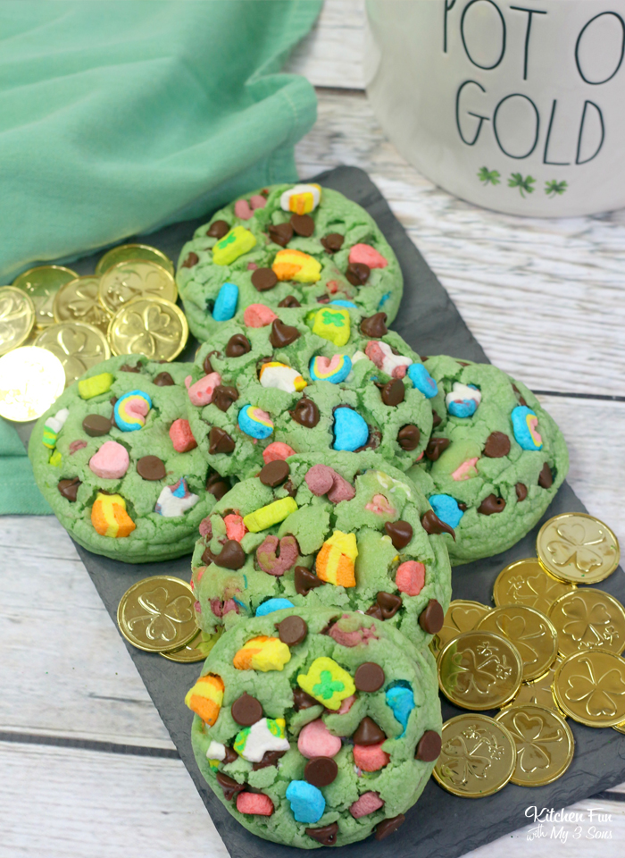 Lucky Charms Cookies are the perfect treat to bake for St. Patrick's Day. These cookies are colorful and full of mint flavors and chocolate chips.