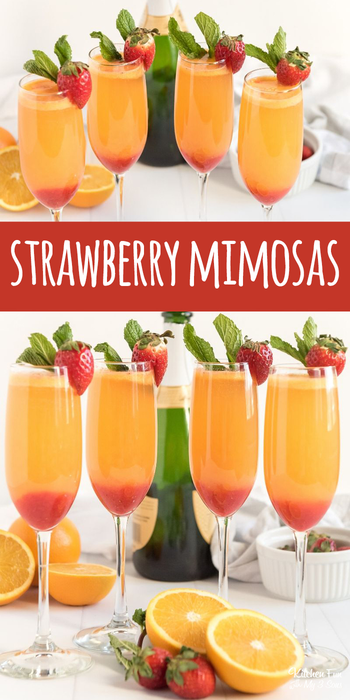 Strawberry Mimosas with real pureed strawberries. Perfect for brunch. | Mimosa Bar