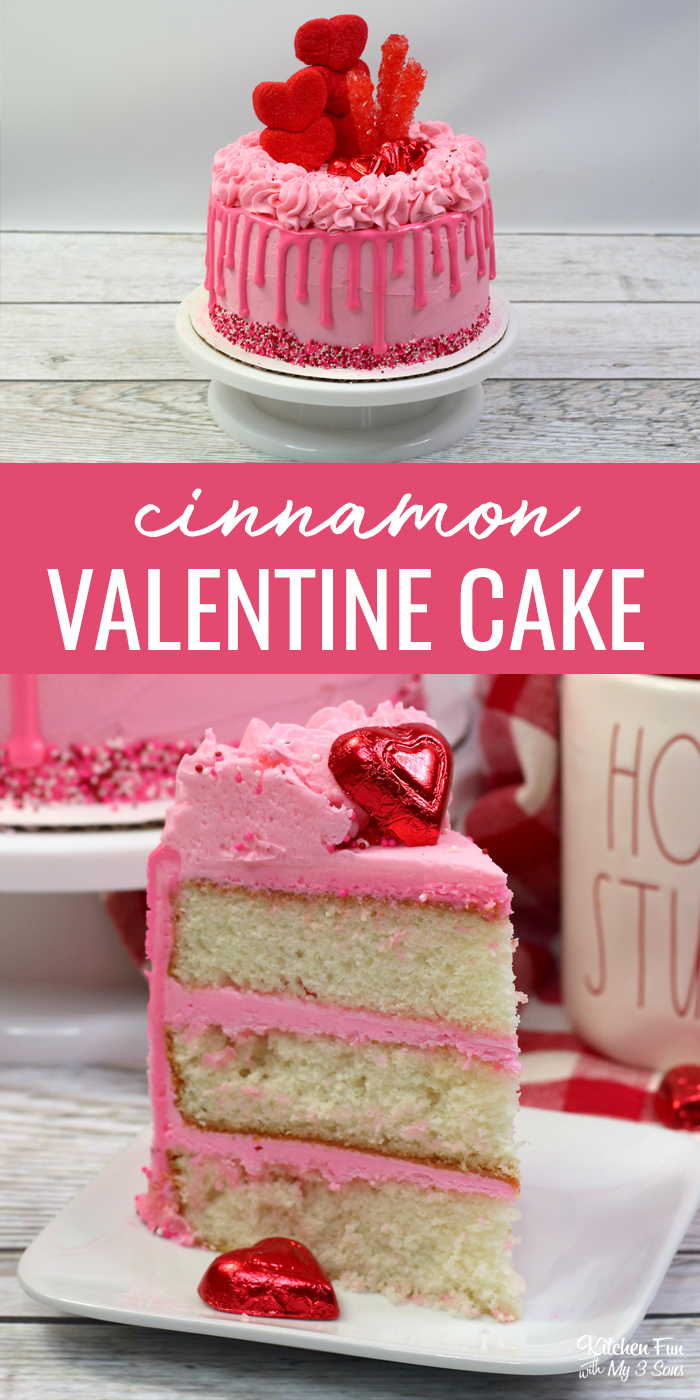 This Valentine Cake with cinnamon flavor and homemade vanilla frosting is the perfect Valentine's Day dessert. Top it with sprinkles and red rock candy for a festive look.