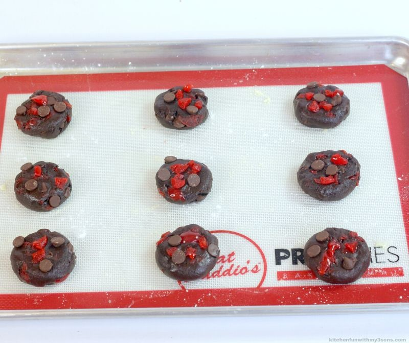 Black Forest Chocolate Cherry Cookies on a cookie sheet