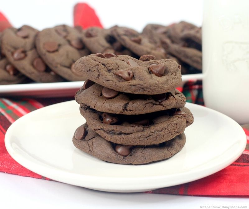 chocolate fudge cookies on a white plate