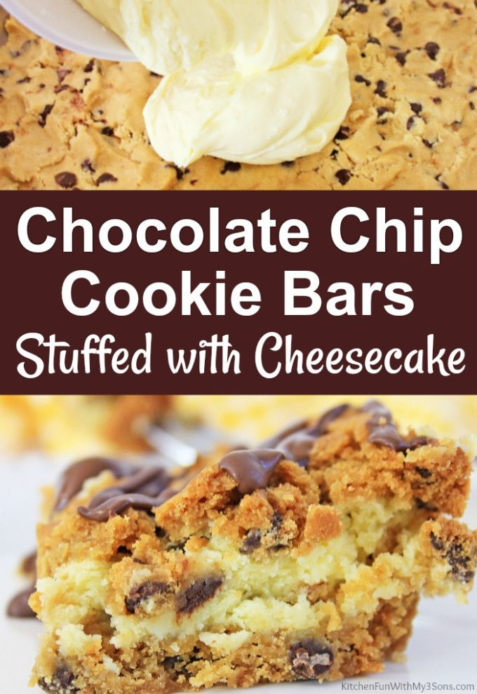 Chocolate Chip Cookie Bars Stuffed with Cheesecake